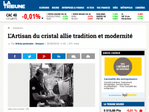 ARTICLE OF THE ECONOMIC JOURNAL LA TRIBUNE, ON THE DEVELOPMENT OF OUR CRYSTALLERY. (APRIL 02: 05: 2018)