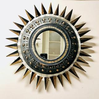 Miroir Georges Pelletier émaillé noir bleuté