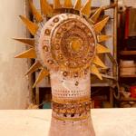 Lampe Soleil à piques de Georges Pelletier en céramique émaillé brun et or