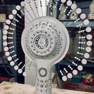 Lampe Soleil de Georges Pelletier émaillée blanc