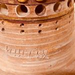 Lampe Soleil de Georges Pelletier en céramique émaillé brun et or - Signature