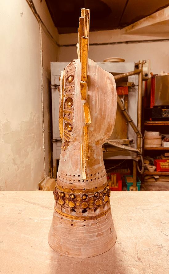 Lampe Soleil de Georges émaillé brun et or