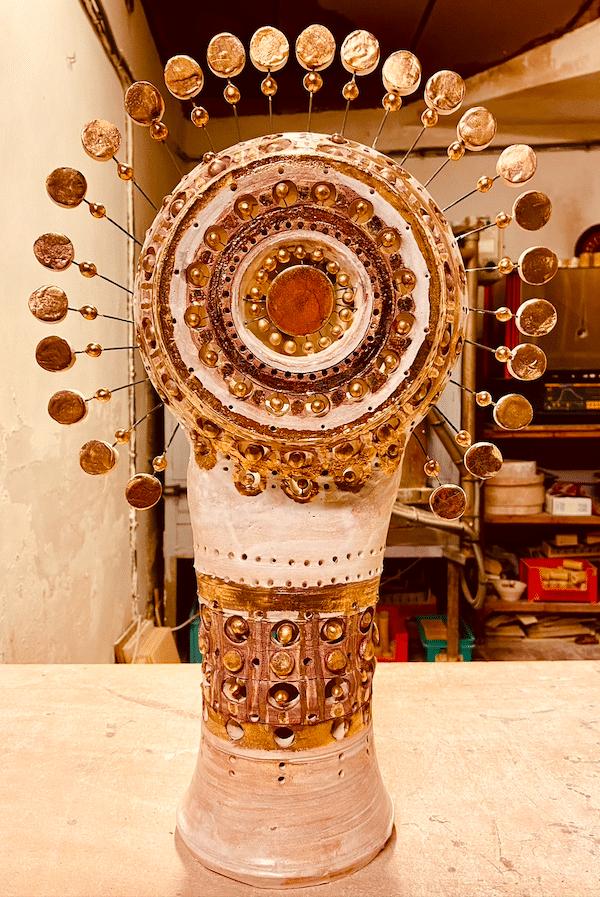 Lampe Soleil en céramique de Georges Pelletier