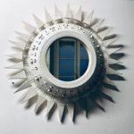 Miroir Georges Pelletier émaillé blanc à piques