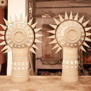 Paire de soleil en céramique de Georges Pelletier