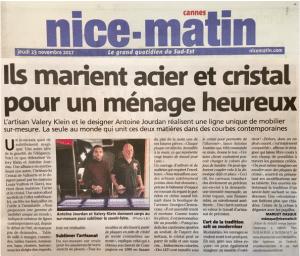 Parution presse dans le nice Matin Mobilier Antoine Jourdan et Valéry Klein 2