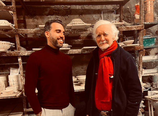 Georges Pelletier et Antoine Jourdan dans l'atelier