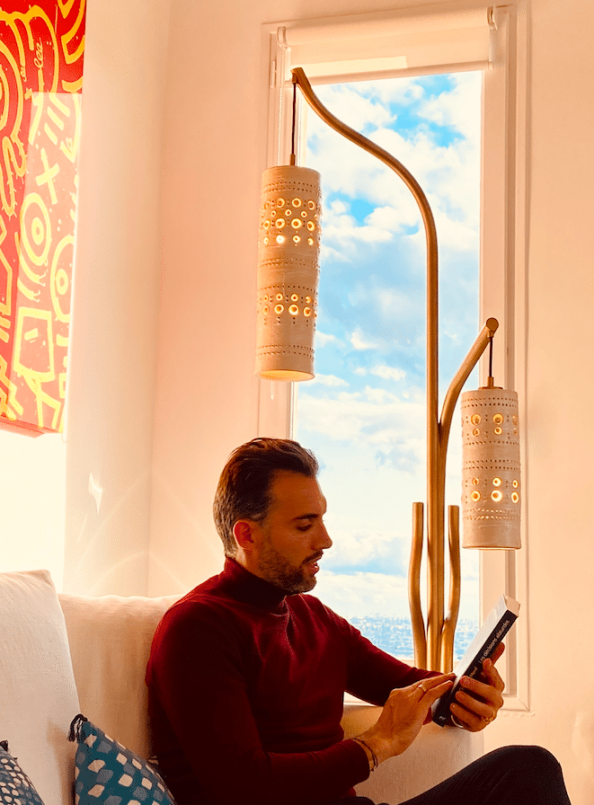 Lampadaire Ceramica acier gold et suspensions en céramique de Georges Pelletier
