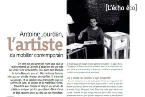 Parution dans Cannes Magazine- Antoine Jourdan l'artiste du mobilier contemporain.