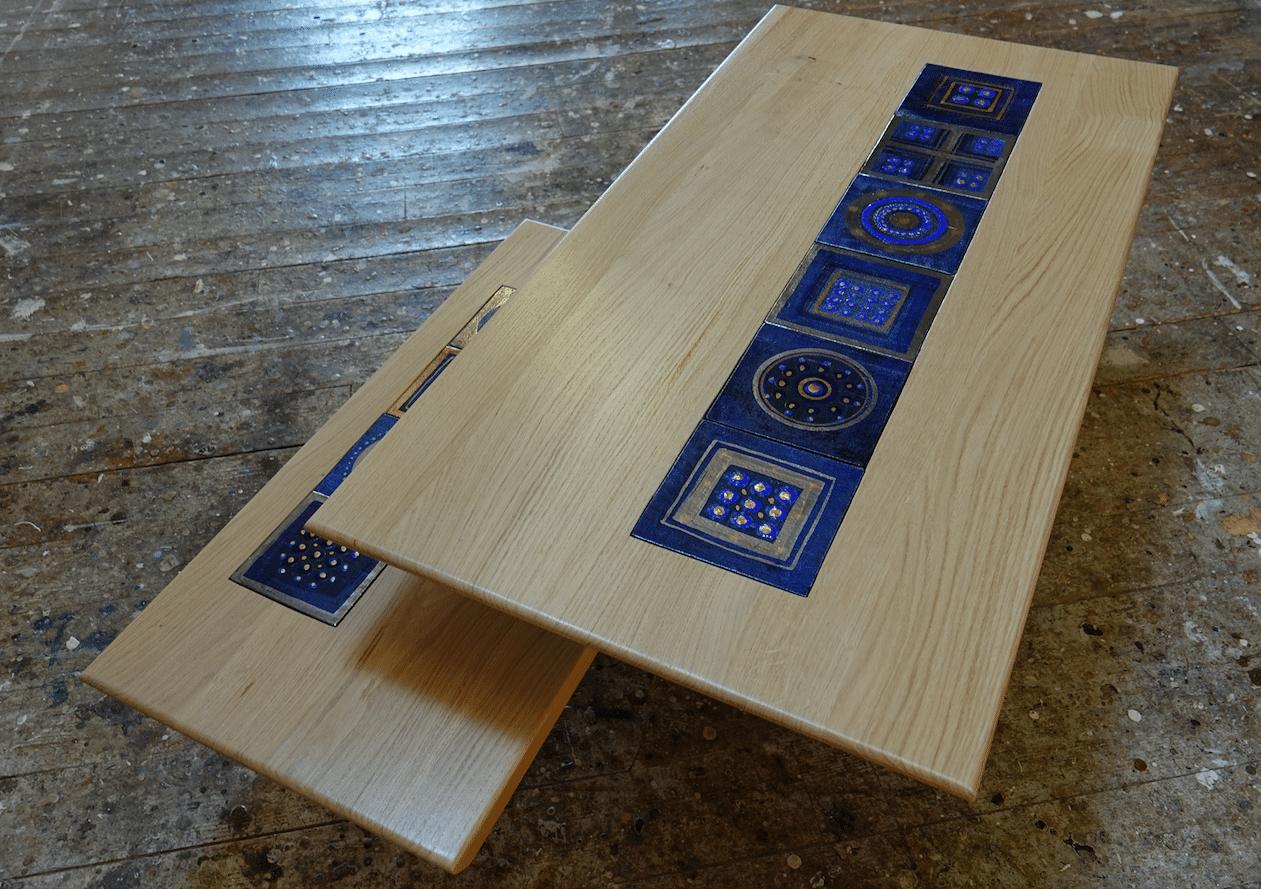 Table basse chêne massif céramiques georges Pelletier