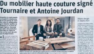 Article paru dans le Progrès Antoine Jourdan et Tournaire Paris pour une gamme de Mobilier Haute Couture