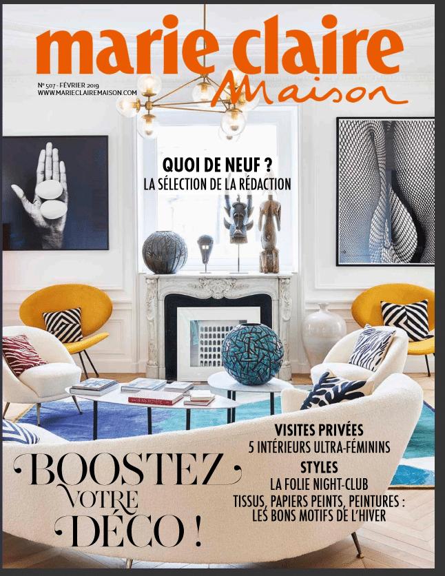 Lampe Vintage Georges Pelletier dans le magazine Marie Claire de février-2019