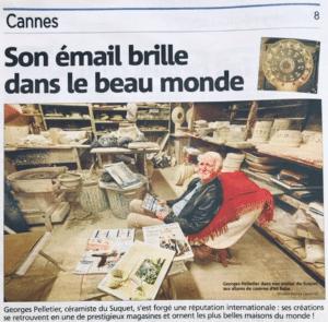 Article sur Georges Pelletier paru dans le Nice Matin le 02-11-2019