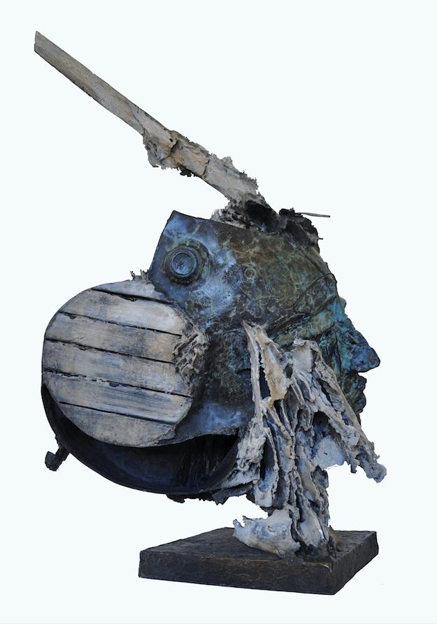 Sculpture bronze Julien Allegre - Femme et la mer - profil