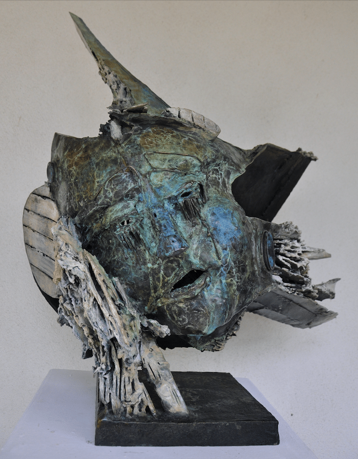 Sculpture bronze de Julien Allegre - Femme et la mer profil
