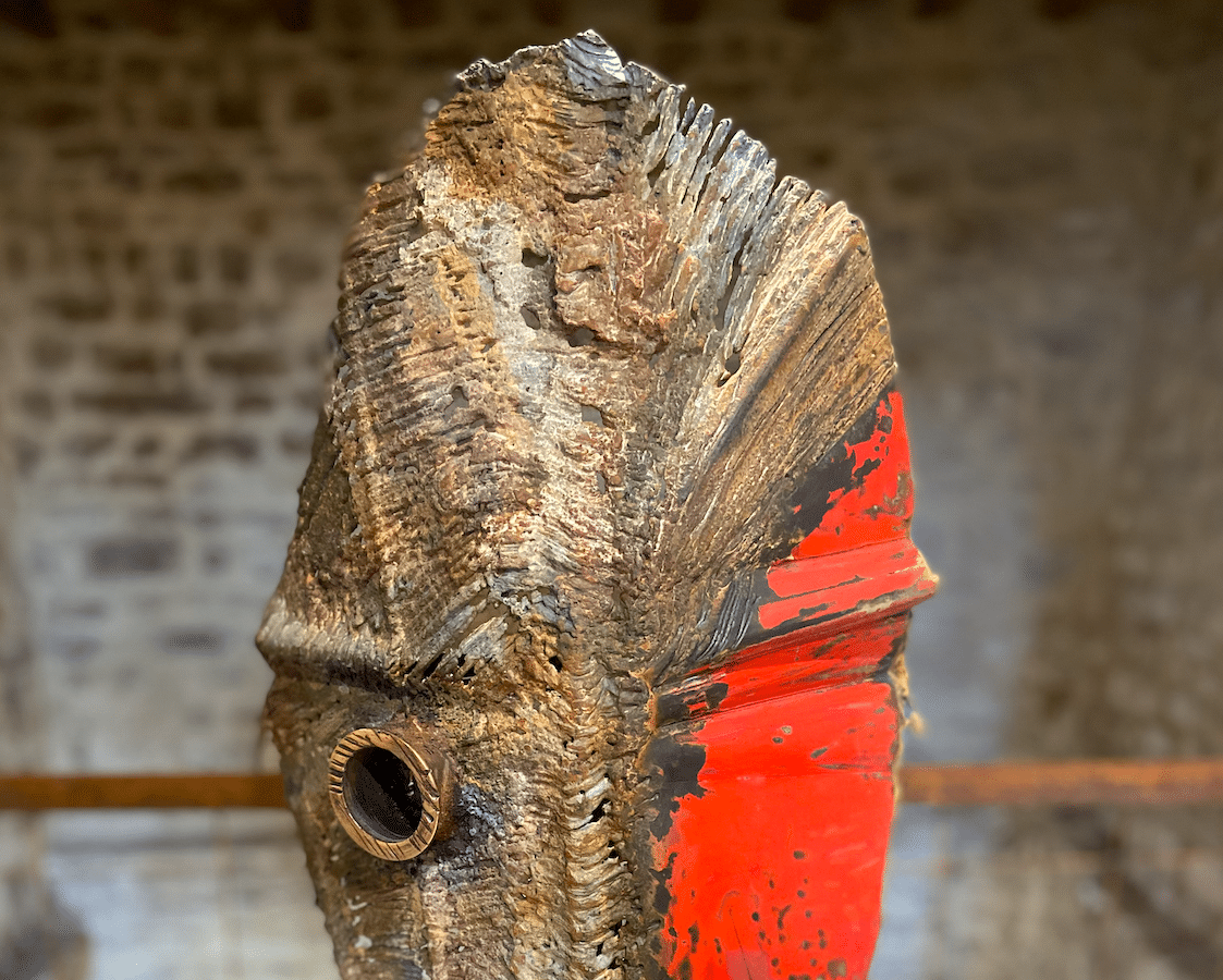 Sculpture de Julien Allegre, acier et bronze-Masque