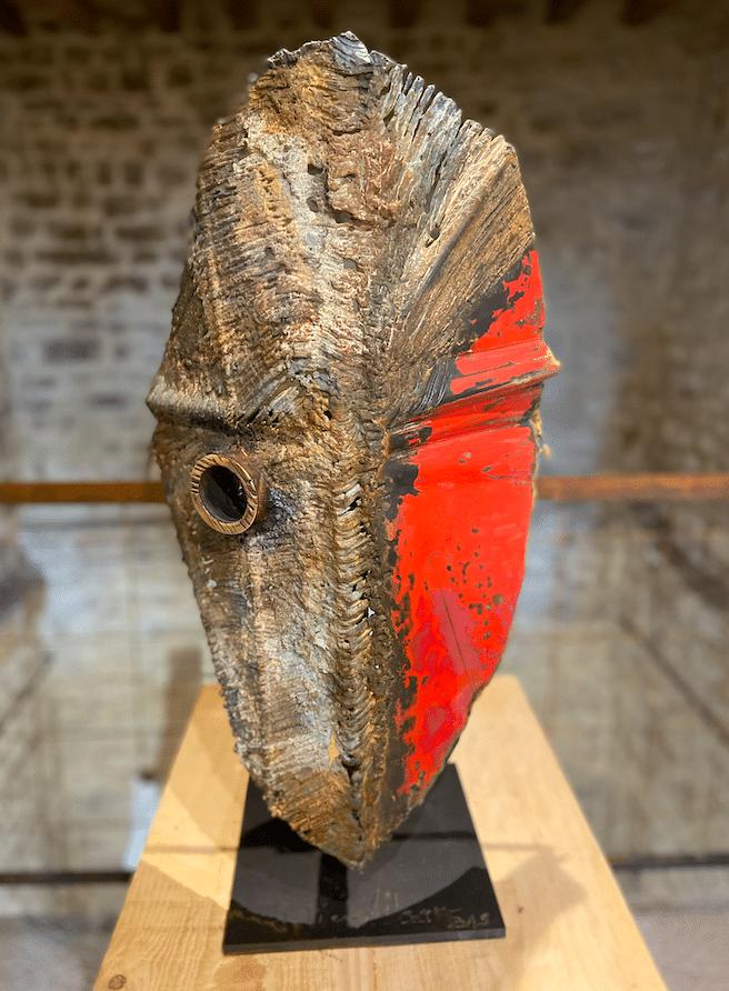 Sculpture de Julien Allegre, acier et bronze - masque