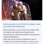 Parution dans Le Progrès Victoire du design Antoine Jourdan 2019