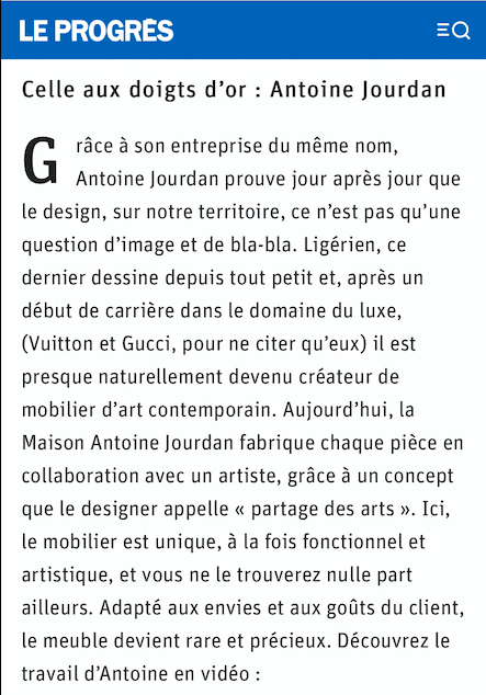 Publication du Journal Le Progrès sur le travail d'Antoine Jourdan