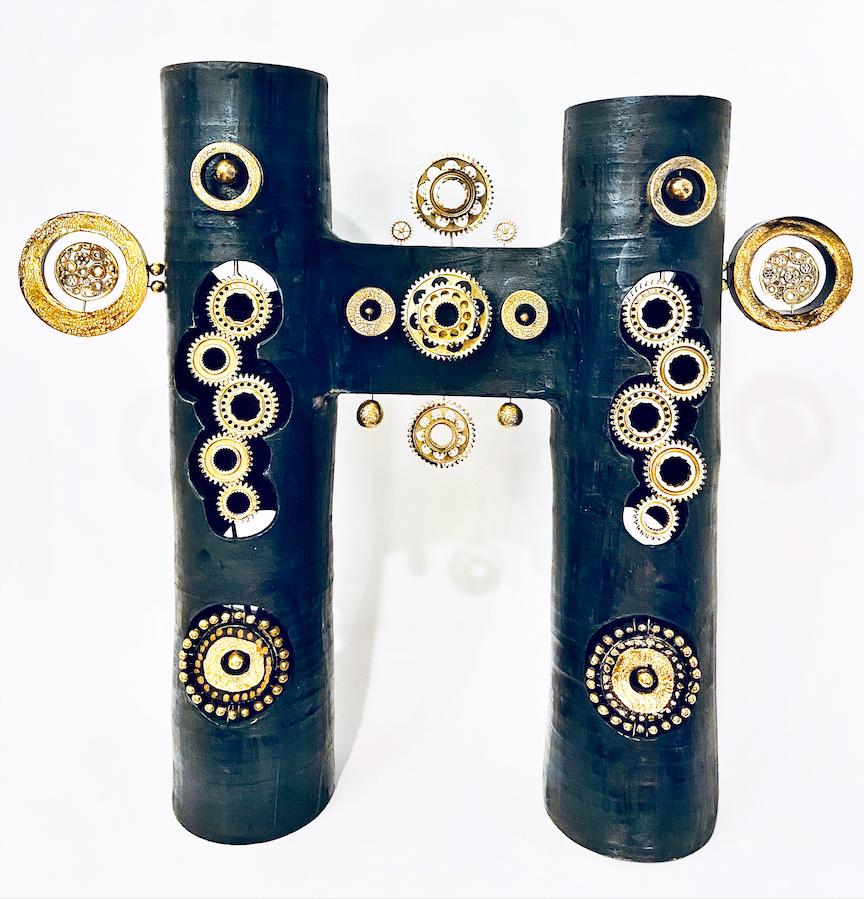 Double colonne Georges Pelletier Tournaire Paris émaillée noir bleuté