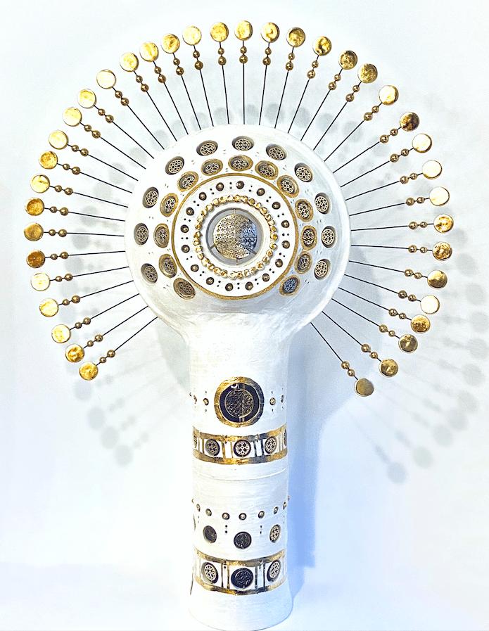 Lampe Soleil Georges Pelletier Tournaire Paris émaillée blanc