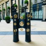 Luminaire double colonne Georges Pelletier Tournaire