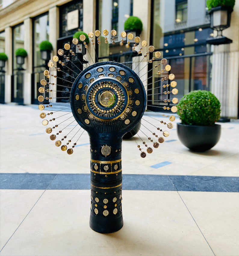 Totem lamp black and gold By Georges Pelletier & Tournaire Paris