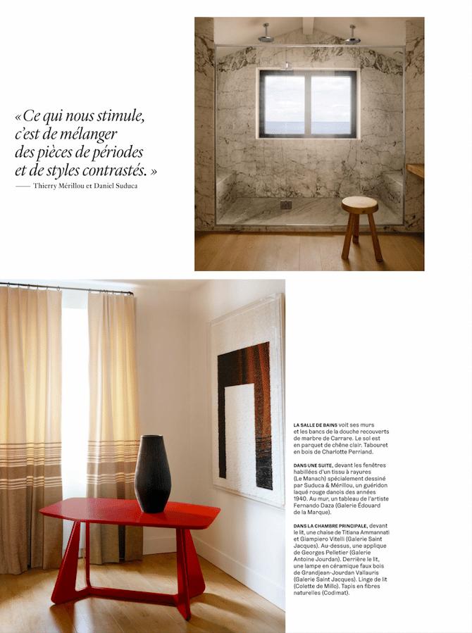 Projet Suduca & Merillou Magazine AD Septembre 2020 Installation appliques Georges Pelletier