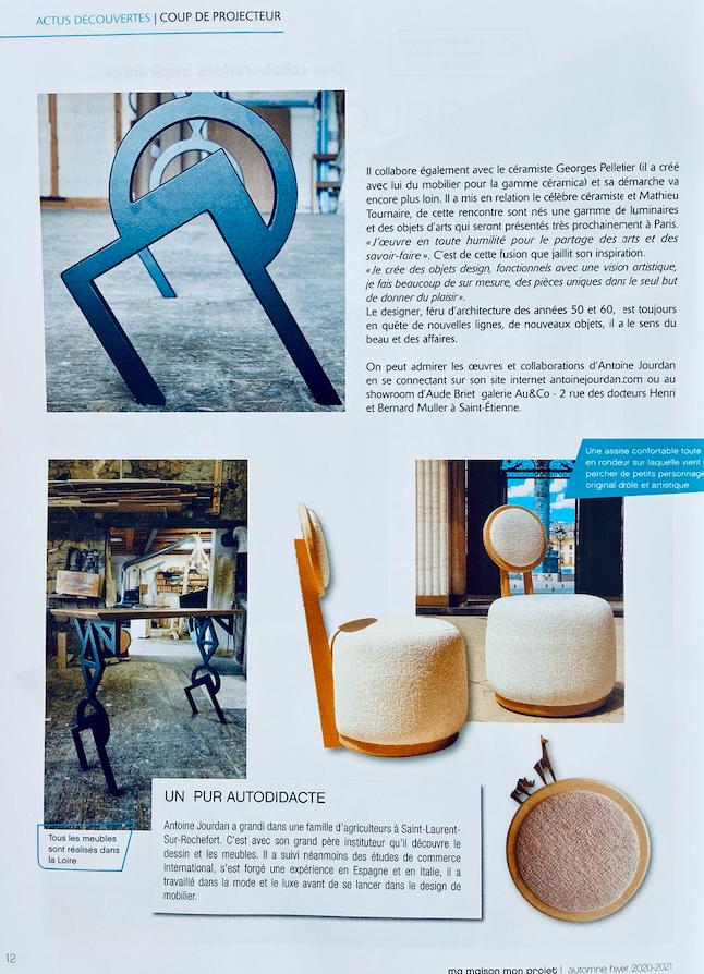Article sur le designer Antoine Jourdan dans le magazine Ma maison mon projet