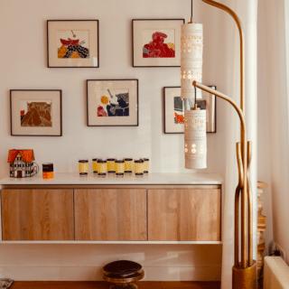 Ensemble d'acier or et suspensions en céramique de Georges Pelletier