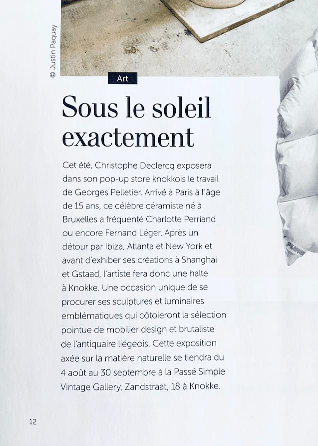 Article sur Georges Pelletier Pure Maison Juillet 2021